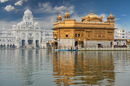 punjab: Famous indian landmark - Sikh gurdwara Golden Temple Harmandir Sahib. Amritsar, Punjab, India