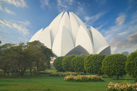 lotus temple: The Lotus Temple, located in New Delhi, India, is a Bahai House of Worship