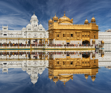 Famous indian landmark - Sikh gurdwara Golden Temple Harmandir Sahib. Amritsar, Punjab, India