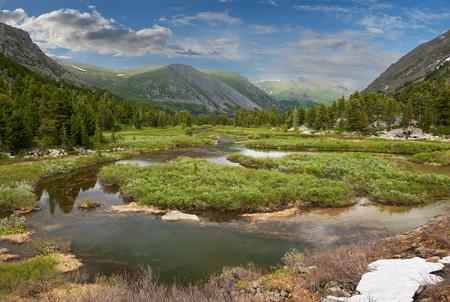 katun: Beautiful summer landscape,Rivers and valleys of the Altai Mountains, Russia, Siberia, Katun ridge.
