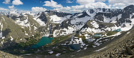 Beautiful summer landscape,view of Lake Valley and the surrounding mountains from the top, Russia, Siberia, Altai mountains, Katun ridge.