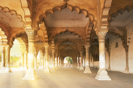 Sunlight in the arches of the palace in Agra. Red Ford is the former imperial residence of the Mughal Dynasty located in Agra, India.