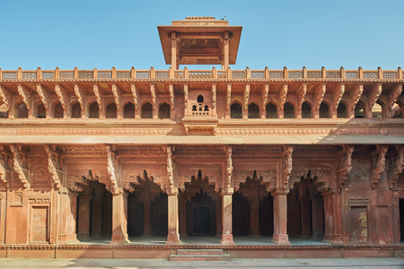 Red Fort is the former imperial residence of the Mughal Dynasty located in Agra, India. It is also a UNESCO World Heritage site and is about 2.5 km northwest of its more famous monument the Taj Mahal.
