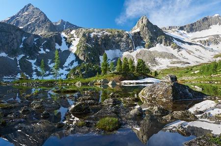 Beautiful summer landscape, mountain lake, Russia, Siberia, Altai mountains, Katun ridge.