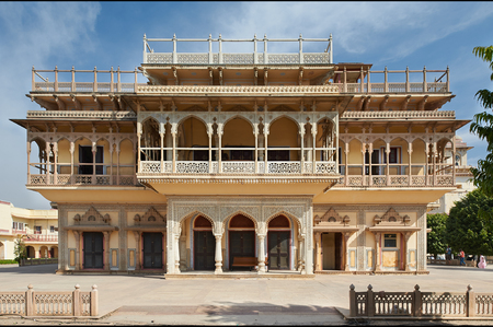 Mubarak Mahal in Jaipur City Palace, Rajasthan, India. Palace was the seat of the Maharaja of Jaipur, the head of the Kachwaha Rajput clan, India.