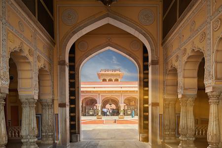 Mubarak Mahal in Jaipur City Palace, Rajasthan, India. Palace was the seat of the Maharaja of Jaipur, the head of the Kachwaha Rajput clan, India.