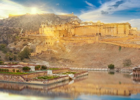 mughal empire: Amer Fort  is located in Amer, a town with an area of 4 sq. kilometres, not far from Jaipur, Rajasthan state, India. Located high on a hill, it is the principal tourist attraction in the Jaipur area.