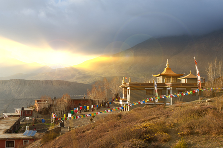 The photograph was taken during a hike around the Annapurna mountains in the Himalayas of Nepal. Buddhist monastery on the border of Nepal and the Kingdom of Mustang.