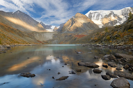 Beautiful autumn landscape, mountain lake, Russia, Siberia, Altai Mountains, Katun Range.