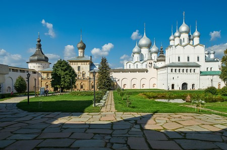 Assumption Cathedral and church of the Resurrection in Rostov Kremlin. The ancient town of Rostov The Great is a tourist center of the Golden Ring of Russia. Stock Photo