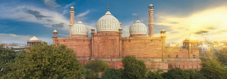 An aerial view of the Jama Masjid mosque overlooking Old Delhi, India Stock Photo