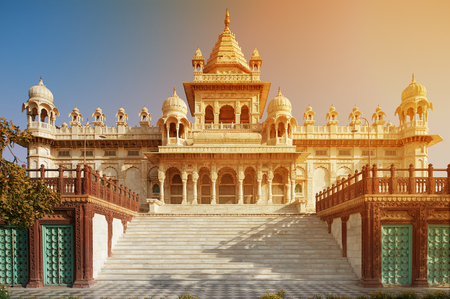 The Jaswant Thada is a cenotaph located in Jodhpur, in the Indian state of Rajasthan. It was used for the cremation of the royal family of Marwar. Jodhpur Rajasthan India. Standard-Bild