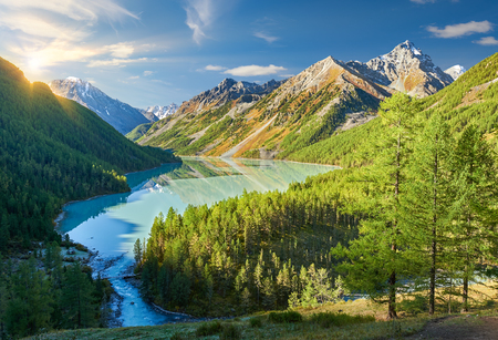katun: The cloudless early morning sun illuminates the mountain peaks painted in autumn.. Beautiful autumn landscape, view of the mountain range, Russia, Siberia, Altai Mountains, Katun Range.