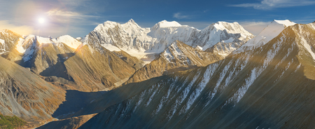 katun: Roerichs landscape Yarlu valley. Beautiful autumn landscape, view of the mountain range to the nearest Pass, Russia, Siberia, Altai Mountains, Katun Range.