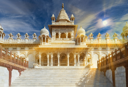 The Jaswant Thada is a cenotaph located in Jodhpur, in the Indian state of Rajasthan. It was used for the cremation of the royal family of Marwar. Jodhpur Rajasthan India. Stock Photo