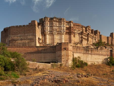 Mehrangarh Fort located in Jodhpur, Rajasthan, is one of the largest forts in India. Stock Photo