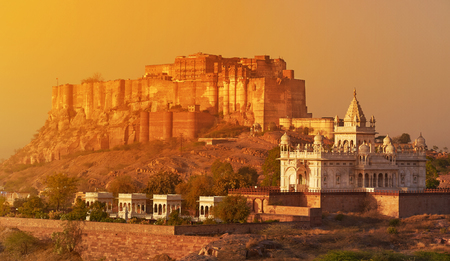 Sunrise at the Mehrangarh Fort and Jaswant Thada Mausoleum with the blue city in the background. located in Jodhpur, Rajasthan, is one of the largest forts in India.
