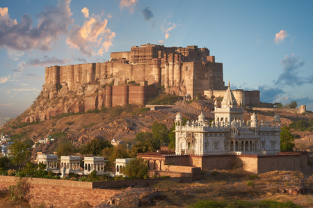 Sunny bright day in Mehrangarh Fort located in Jodhpur, Rajasthan, is one of the largest forts in India.