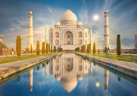 The Taj Mahal is an ivory-white marble mausoleum on the south bank of the Yamuna river in the Indian city of Agra, Uttar Pradesh. Editoriali