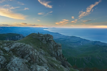 Summer landscape of the southern Crimea, overlooking the Black Sea and the surrounding mountains, in the bottom of Alushta