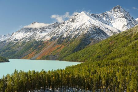 Mountain lake Russia West Siberia Mountain landscape with a lake and forest in the foreground.