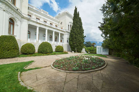 YALTA, RUSSIA-APRILL 25, 2016: ivadia Palace was a summer retreat of the last Russian tsar, Nicholas II, and his family in Livadiya, Crimea. The Yalta Conference was held there in 1945