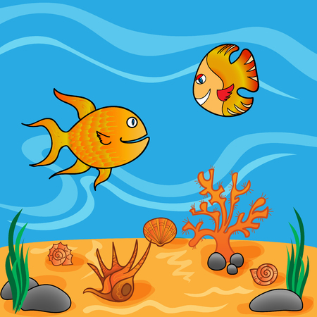 underwater fishes: Underwater life with funny fishes