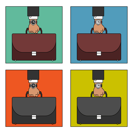 haste: Hand of a businessman holding briefcase. Set of images
