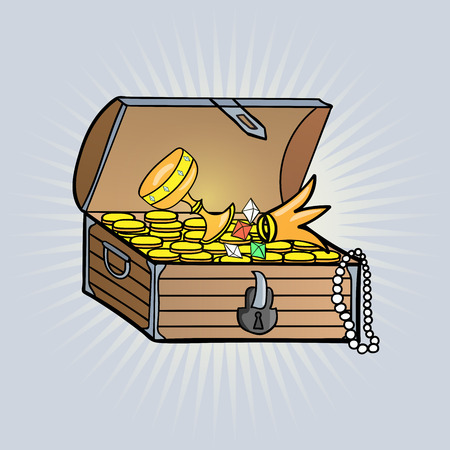 shinny: Open wooden chest with shinny treasure Illustration