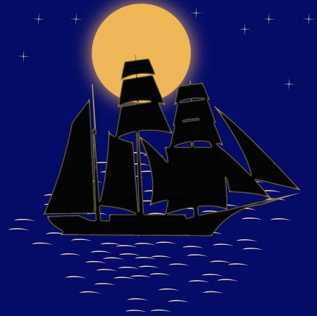 Night ocean Illustration