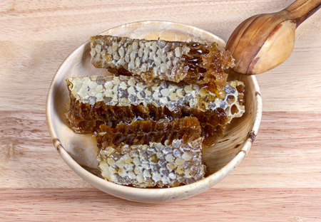 apiculture: honey  honeycomb  food  sweet  gold  wax  cell  pattern  propolis  apiculture pollen wood, bowl spoon