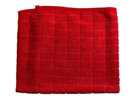 microfiber cloth: Microfiber cloth red isolate. Stock Photo
