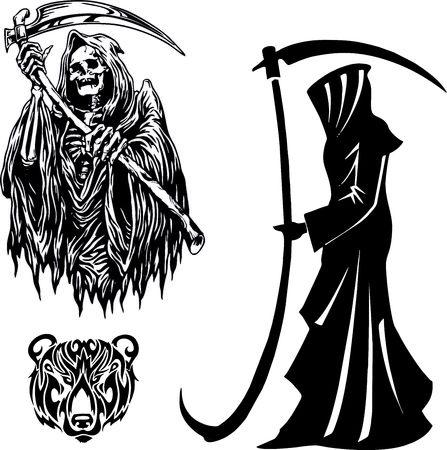 Grim Reaper con la falce. sagoma sulla morte di Halloween
