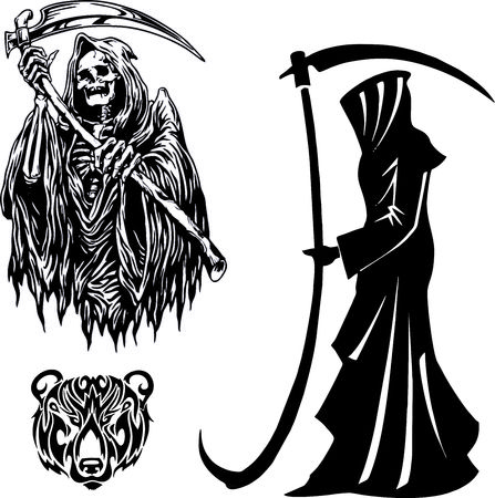 grim reaper with scythe. silhouette on Halloween death