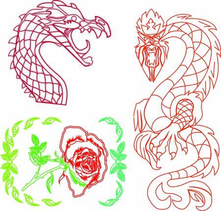 rose, flower, vegetable. pattern. dragon