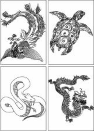 dragon, snake, turtle, phoenix.