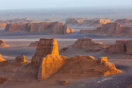 Sand towers of Kaluts in the Dasht-e-Lut desert. Iran