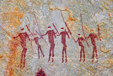 Oude tekeningen van het San-volk in de rotsen op de grens van Mozambique en Zimbabwe Stockfoto