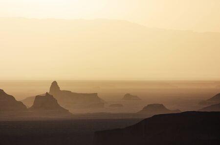 Sand towers of Kaluts in the Dasht-e-Lut desert. Iran Reklamní fotografie
