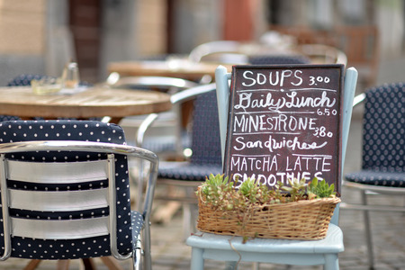 signboard: Street cafe signboard Stock Photo