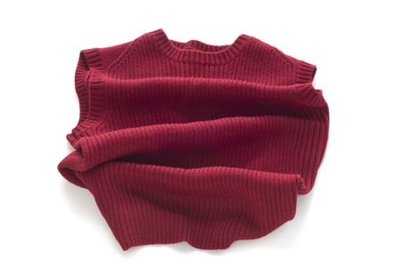 without: Red sweater without sleeves