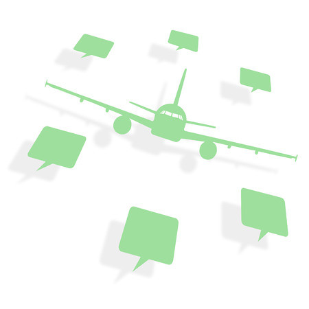 stiker: The coverage area of the airplane. The geography of flights. Timetable, prices, discounts and services. Flat map.