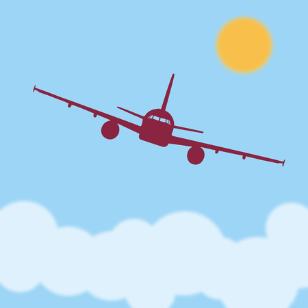 above clouds: Flying an airplane above the clouds on a sunny day. The flat illustration.