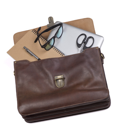 business briefcase: Business briefcase businessman. Brown. Laptop, notebook, glasses, scissors, pen.