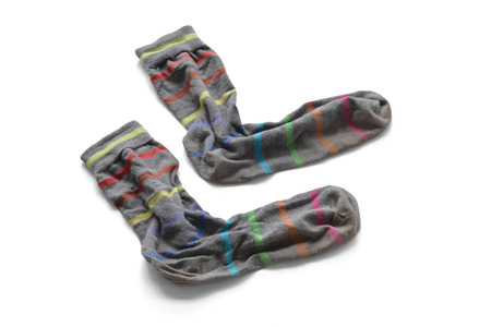 socks: Gray socks with colored stripes. Second hand