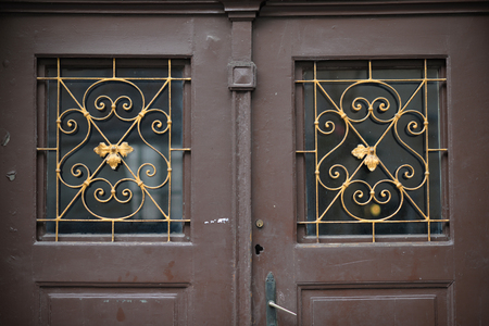 hinge joint: Old doors, handles, locks, lattices and windows Stock Photo
