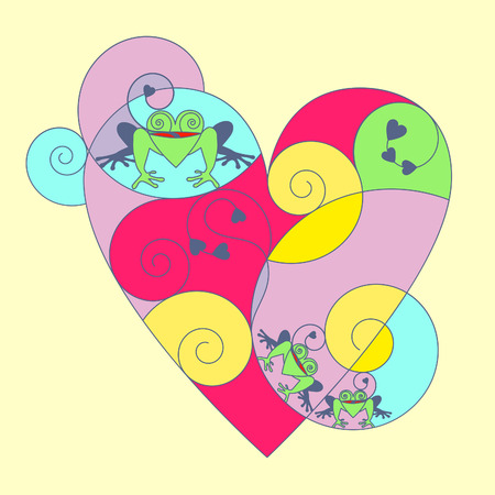 thin shell: Multi-colored heart with frogs