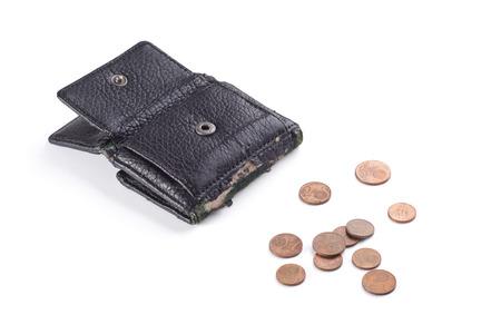 monete antiche: borsa nera con vecchie monete.