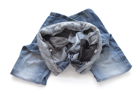 turned out: Erasing blue jeans for women. Turned inside out. Editorial