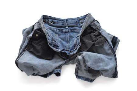 turned out: Erasing blue jeans for women. Turned inside out. Stock Photo